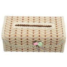 S & F Bamboo Handmade Flower Tissue Box Napkin Holder (Beige)