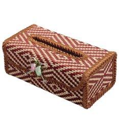 S & F Bamboo Handmade Flower Tissue Box Napkin Holder (Coffee)