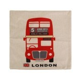 S & F Cartoon England Bus Cotton Linen Throw Pillow Case Cushion Cover Decor