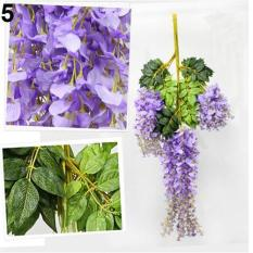 Sanwood® Artificial Wisteria Flowers Vine Silk Flower Wedding Garden Party Hanging Decor (Light Purple) - intl