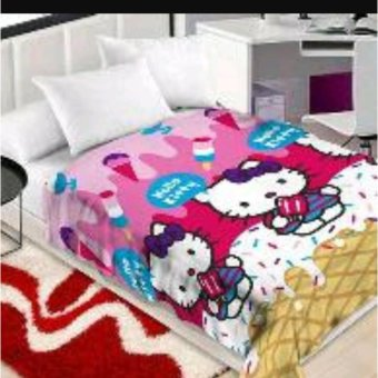Selimut Bulu Hello Kitty Pink Karakter 3D Kualitas Import Ukr 150x200