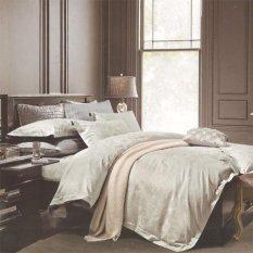 Sleep Buddy Set Sprei Light Grey Victorian Jacquard Cotton Queen Size