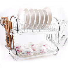 Stainless Steel Dish Rack 2 Layer Dish Drainer Drying Holder Space Saver (Sliver)