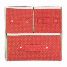 StarHome Rak Kain 3 Sekat- Storage Box - Kotak Serbaguna - Kotak Pakaian - Box Pakaian Portable - Merah