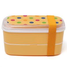 Student Cartoon Lunch Box Food Container Storage Portable Bento Box Chopsticks Orange Dot (Intl)