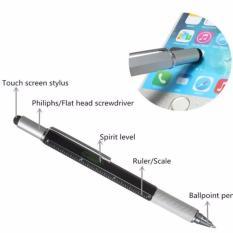 Teiton Pena Multifungsi Metal Stylus Penggaris Level Obeng - Hitam