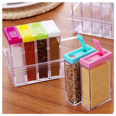 Tempat Bumbu Dapur Kotak 6 in 1 / Seasoning Set Multicolour 6in1 KS-01