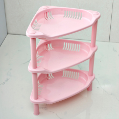 Three Triangular Racks Kitchen Bathroom - Pink