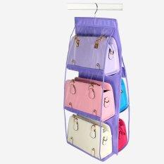 Transparent Dust Proof Non-woven 6 Pocket Hanging Storage Bag Purse Handbag Tote Bag Storage Organizer Closet Rack Hangers U0765-purple