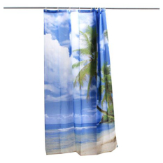 Tropical Palm Tree Summer Beach Polyester Shower Curtain Bathroom Decor W / Hooks