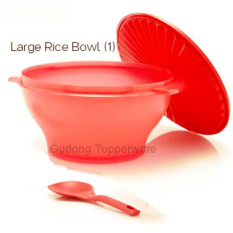 Tupperware Large Rice Bowl With Spoon- Merah