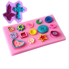 Two Crosses Shaped Silicone Mold And Beautiful Button Series Shape Silicone Cake Decoration Fondant Cake 3D Mold Food Grade Silicone Mould - Intl