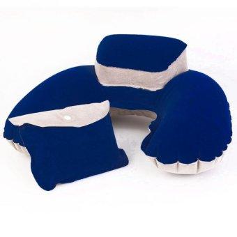 U-shaped Inflatable Bag Neck Pillow Dark Blue - Intl
