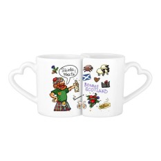 UK Scotland Drunken Man Illustration 227ml Lovers' Mug Set White Pottery Ceramic Cup Cute Funny Milk Coffee Cup With Handles