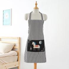 USTORE Women Men Stripe Apron With Pockets Chef Waiter Kitchen Cook Kitchen Apron Black Bottom White Horse - Intl