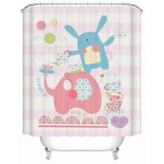 W180CM X H200CM Lovely Design Print Cartoon Animal Elephant Rabbit Living Room Screen Shower Curtains For Kids
