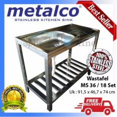 Wasbak/ Wastafel/ Bak Cuci Piring Metalco MS 36 / 18 Set Portable Knock Down Stainless Anti Karat