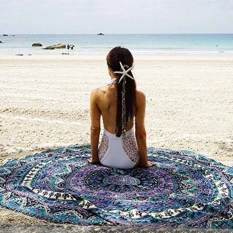 Wavy Round Beach Towel 150cm Tapestry Hippy Boho Gypsy Printed Tablecloth Beach Floor Towel - Intl