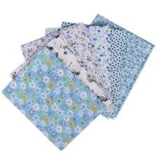 Wholesale Series 7 PCS Pre-Cut Plain Cotton Quilt Cloths Fabrics For Sewing-BLUE