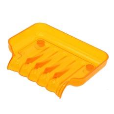 Whyus Hot Clear Plastic Bathroom Kitchen Waterfall Drain Soap Dish Storage Suction Cup(Orange)