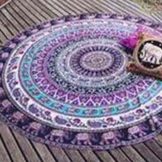 Women's Shawl Round Radiate Pattern Yoga Mat Table Cloth Beach Towels