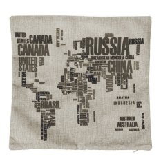 World Map Cotton Linen Square Throw Pillow Case Cushion Cover Home Decor Gifts (Intl)