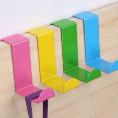 XIYOYO 4Pcs Colorful Over Kitchen Cabinet Door Drawer Hooks Bathroom Towelhanger Bag Hat Clothes Hooks - Intl