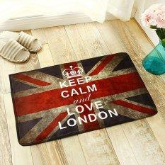 Yika 50*80cm Absorbent Soft Coral Velvet Non-slip Bathroom Floor Mat Rug National Flag Britain Retro (Multicolor)