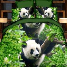 ZHENGQI 4 Pcs Sueding 3D Quilt Cover Pillowcases And Bed Linen Set (Pandas)