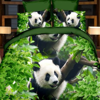 ZHENGQI 4 Pcs Sueding 3D Quilt Cover Pillowcases And Bed Linen Set (Pandas)