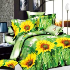 ZHENGQI 4 Pcs Sueding 3D Quilt Cover Pillowcases And Bed Linen Set (Sunflower)