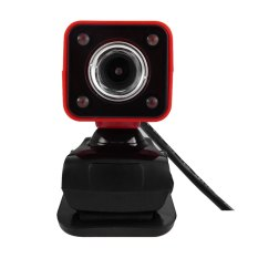 360 Degree Rotatable HD Webcam Clip-on Web PC Camera With MIC / Night Version For Home Office (Red)
