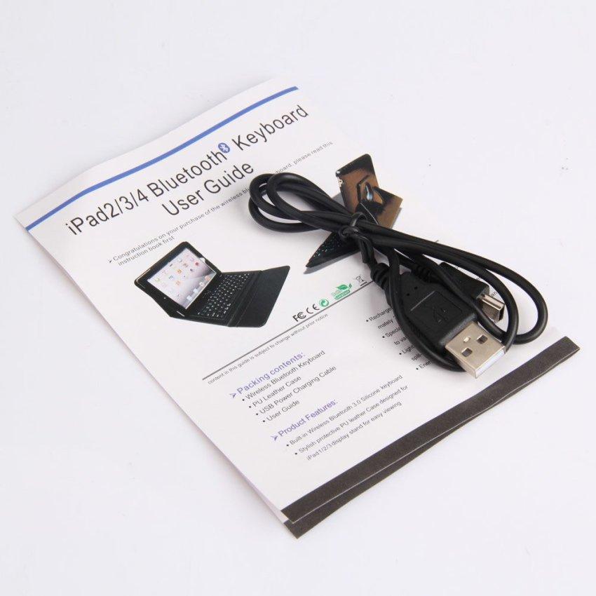 360 Degree Rotating Leather Case Bluetooth Keyboard for iPad 2 iPad 3 (Black)