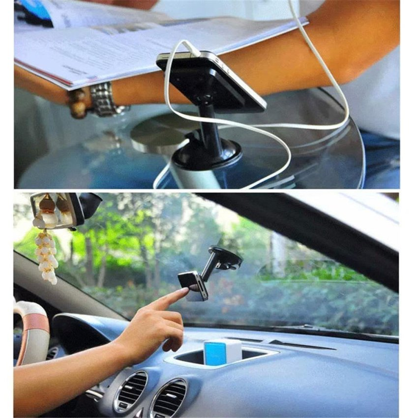 360 Degree Rotating Windshield / Dashboard suction cups Car Mount Phone Holder for Smartphones Mobile Phones -Pink (Intl)