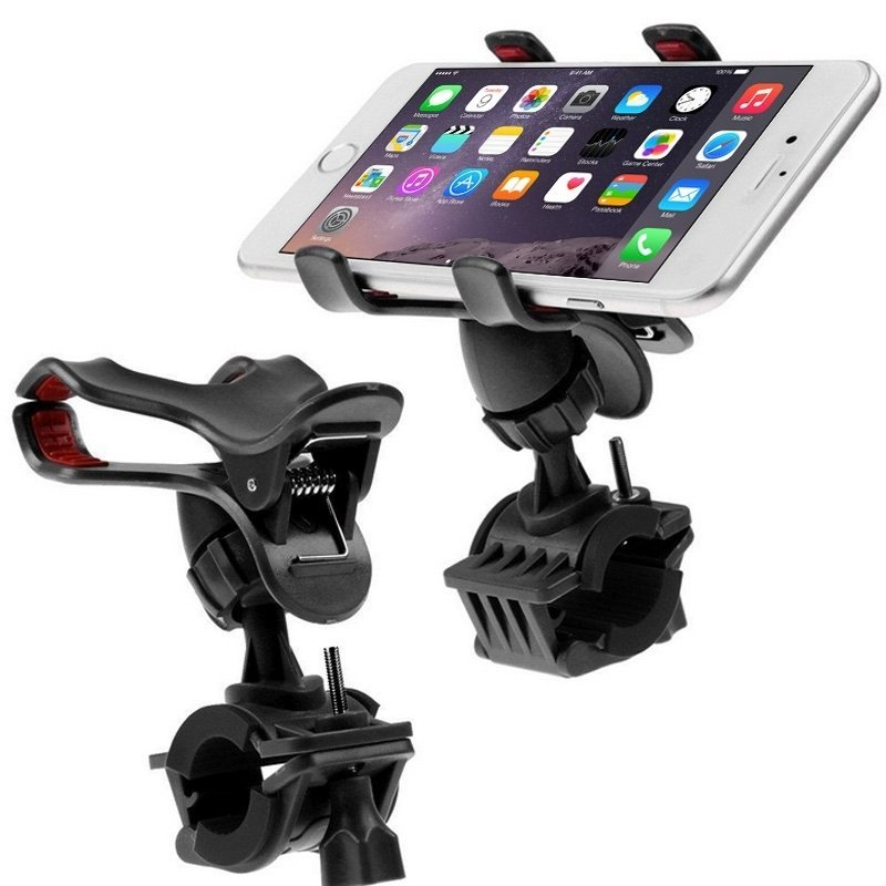 360 Degree Rotation Universal Mobile Phone Motorcycle Bicycle Handlebar Mount Holder for iPhone 6 & 6 Plus / LG / Samsung Galaxy, Clip Support Phone Width: up to 10cm(Black)