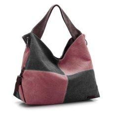 360DSC Women Large Capacity Split Joint Canvas Hobo Bags Crossbody Shoulder Bag Handbag - Black + Coffee- INTL