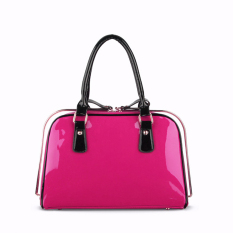 360DSC Women Love Korean Fashion Patent Leather Bag Steel Clip Ladies Handbags (Transverse Type) (Rosy) - INTL