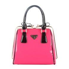 360DSC Women Love Korean Fashion Patent Leather Bag Steel Clip Ladies Handbags (Vertical Type) (Rosy) - INTL