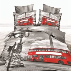 3d Bedding Sets, 100% Cotton, Double Decker Bus 4 Piece Duvet Cover Bedding Sets (1 Duvet Cover, 1 Bed Sheet, 2*pillow Case) (Export) - Intl