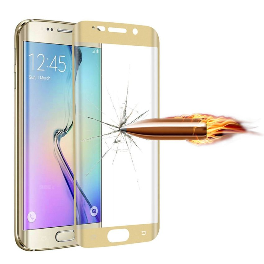 3D Curved Tempered Glass Screen Protector for Samsung Galaxy S6 Edge Plus (Gold) (Intl)