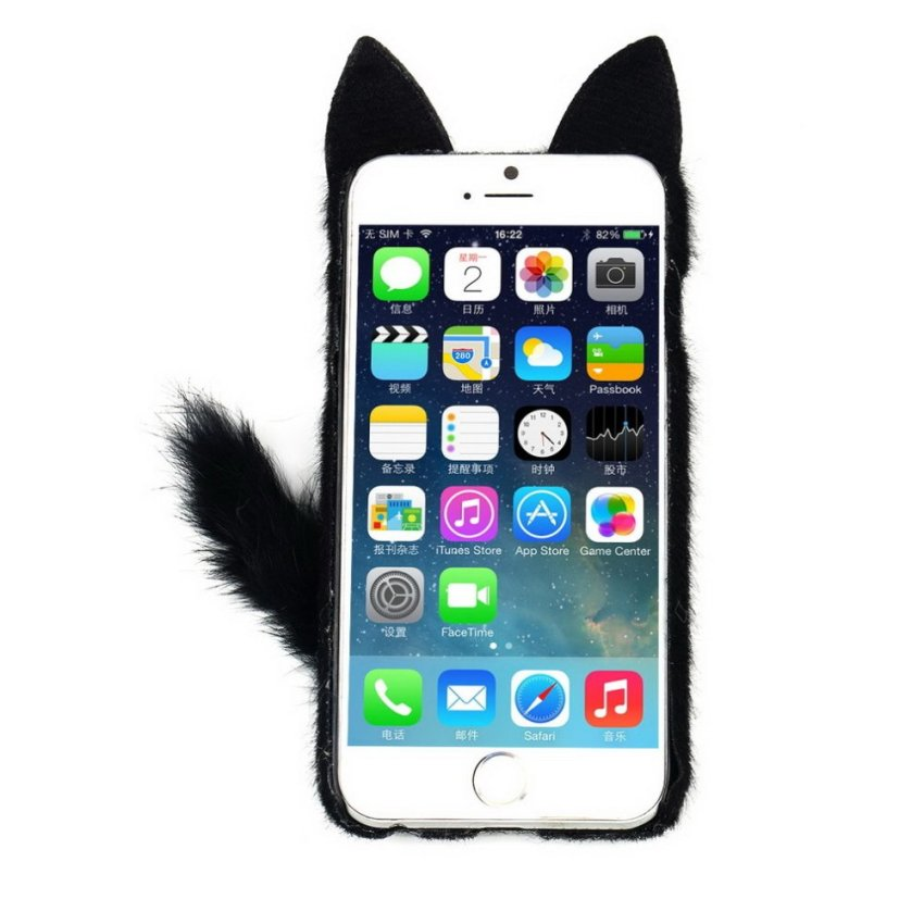 3D Cute Lovely Fluffy Tail Cat TPU Case Cover Skin For iPhone6 4.7inch Case black