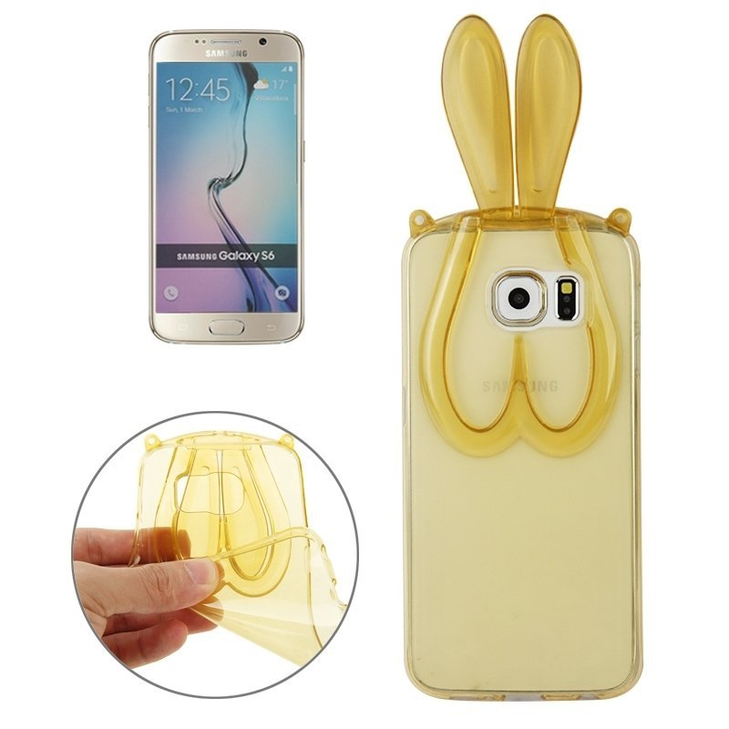 3D Folding Rabbit Ear Pattern TPU Protective Case for Samsung Galaxy S6 / G920(Yellow)