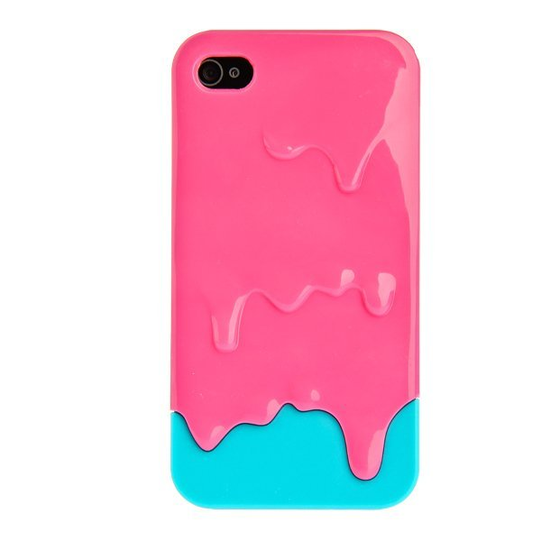 3D Melt Ice Cream Hard Cover with Screen Protector for iPhone 4/4s Hot Pink