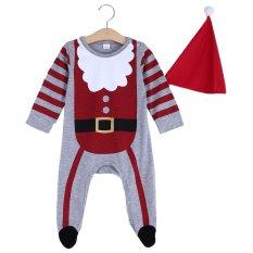 2 buah anak bayi hadiah natal Sinterklas bergaris kerah bulat lengan panjang setelan pakaian topi baju monyet - Internasional