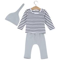 3 buah manis anak bayi atasan kerah bulat lengan panjang bergaris warna Solid celana elastis topi runcing mengenakan setelan pakaian - Internasional