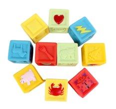 360DSC 10Pcs Cartoon Dice Cube Building Blocks Baby Kids Children Educational Toy - intl