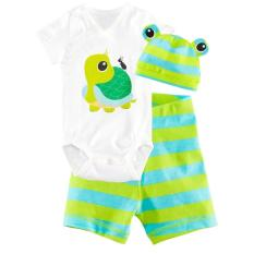 360DSC 3 buah Set bayi lengan pendek baju monyet pakaian katun topi dan pakaian terusan dengan