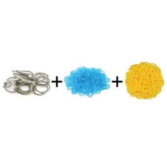 A1 Toys Paket Karet Refill Loom Bands Metalik Abu + Bubble Biru + Polkadot Kuning Rainbow Loom