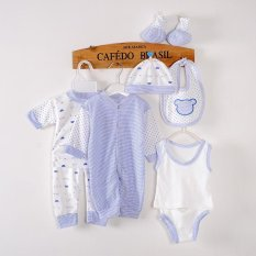 Baby Cartoon Cotton Can Open the Crotch Suit 8 Pieces Gift Set - Blue