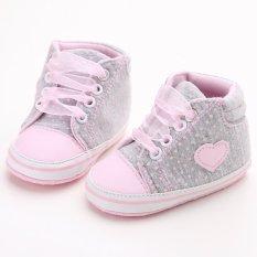Berwarna Merah Muda Balita Panas Bayi Baru Lahir Kanvas Lembut Satu-Satunya Mengenakan Sepatu Flat Cewek Sepatu Bayi Laki-Laki Yang Berjalan S1615